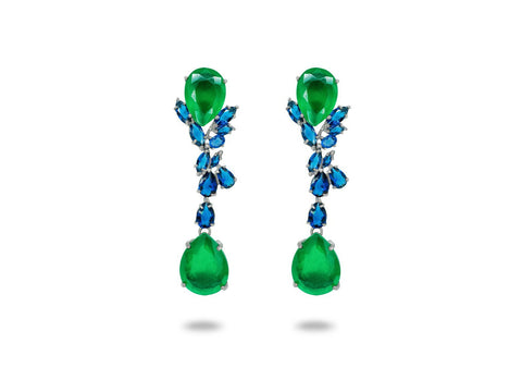 Colores Simulated Sapphire & Emerald Omega Clip Earrings