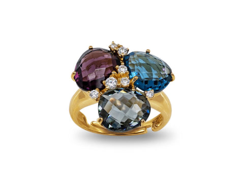 Amethyst London Blue & Smoky CZ Gold Statement Ring