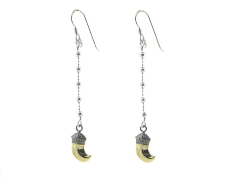 Fronay Co .925 Sterling Silver Royal Golden Charm Hook Earrings