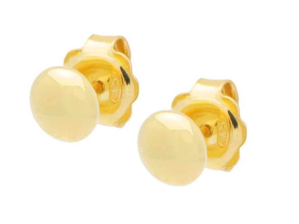 Mirror Gold Button Stud Earrings in Sterling Silver, 6mm