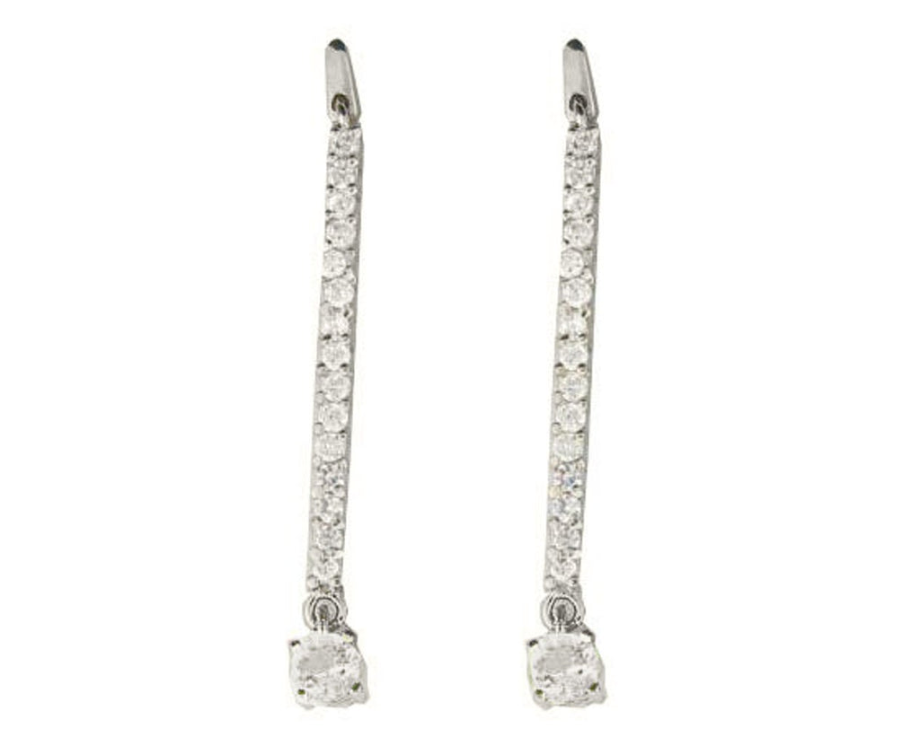Sterling Silver Designer Cubic Zirconia Line Earrings, 1.75