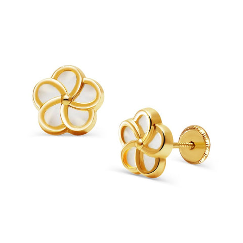 14k Gold Mother of Pearl Daisy Flower Earrings