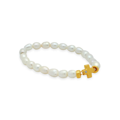 14k Gold Elastic Pearl Bracelet with CZ Cross