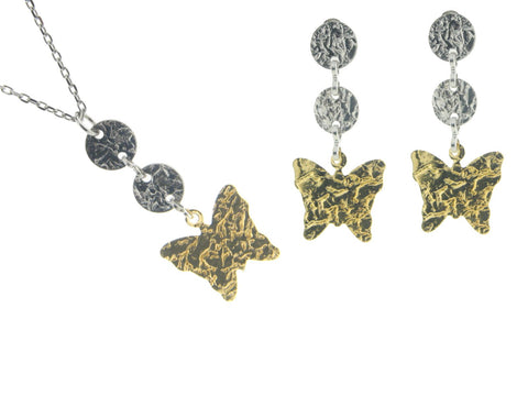 Fluttering Hammered Butterflies Earring Necklace Set Sterling Silver Gold Plated