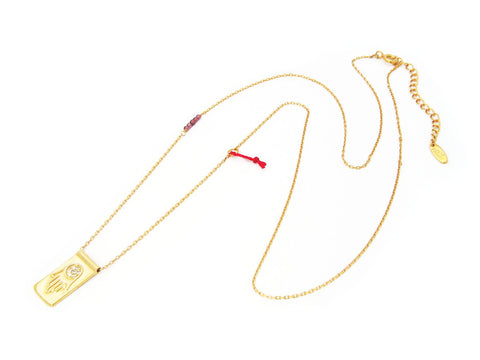 "Hamsa Evil Eye Pendant Necklace: 18k Gold Plated Sterling SIlver, 16"" Length"
