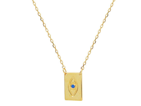 "Minimalist Blue CZ Evil Eye Necklace in 18k Gold Plated Sterling Silver: Length 16""+2"""