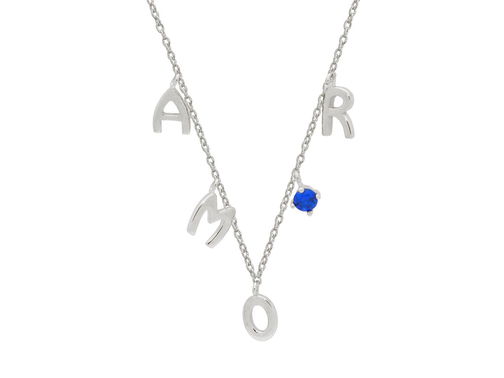 "Silver Rhodium Plated ""AMOUR""Letters 16""+ 2"" Blue Spinel Necklace"