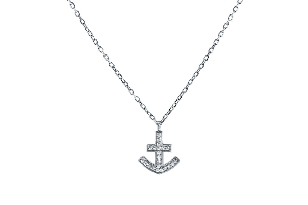 Sparkling Anchor Necklace