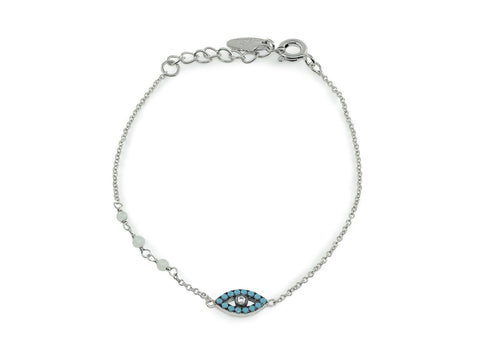 Nano Turquoise Evil Eye Bracelet in Rhodium Plated Silver