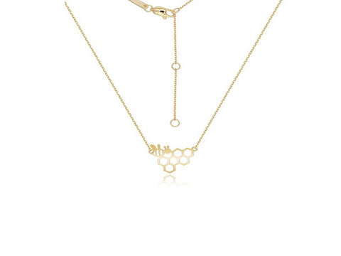 18k Yellow Gold Bee & HoneyComb Pendant Necklace