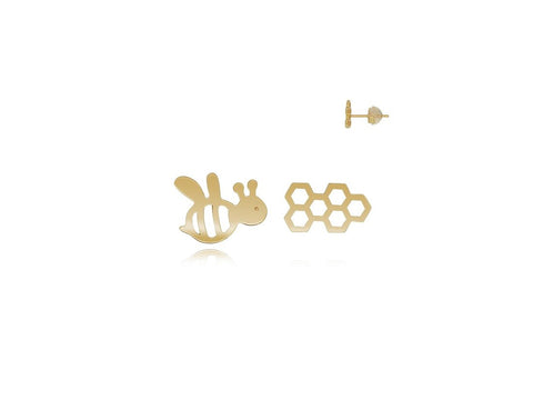18k Yellow Gold Bee & HoneyComb Stud Earrings