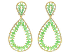 Fronay Co .925 Sterling Silver Marquis Green Glass and Cz Statement Earrings dipped in Gold