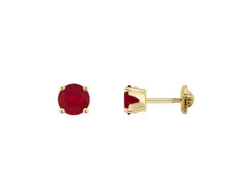 BecKids 18k Gold Mini Red Ruby Stud Earrings, 3mm