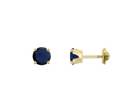 BecKids 18k Gold Mini Blue Sapphire Stud Earrings, 3mm