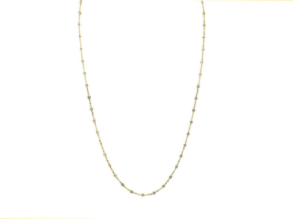 Long CZ by the Yard Necklace in 18k Gold Plated Sterling Silver, Length: 40 Inches