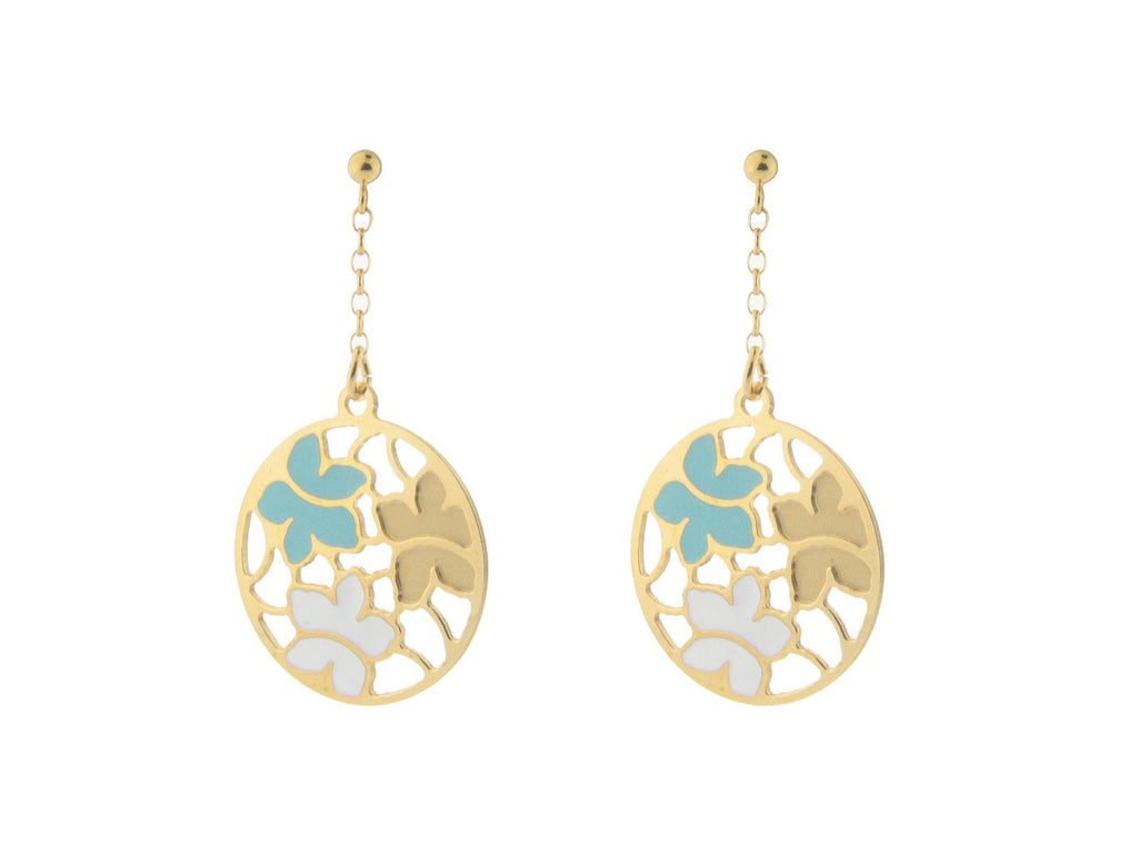 Etruscan Gold Turquoise & White Flower Earrings in Sterling Silver