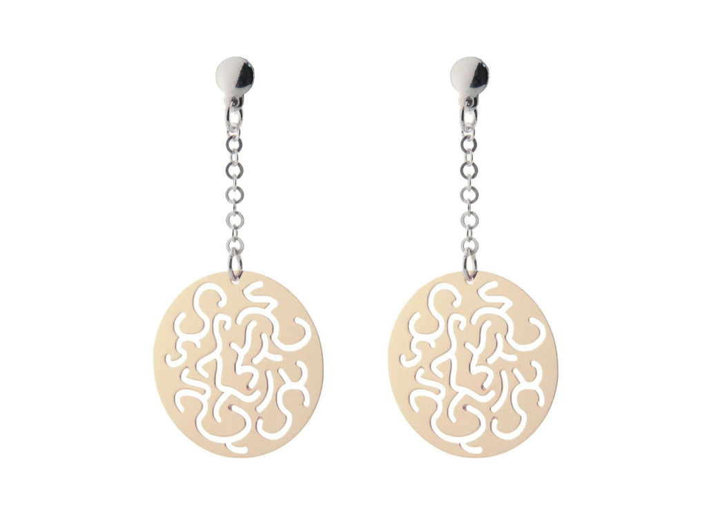 "Sterling Silver Earring Dangling  Filigree Discs Rose Plated  .75""X.75""  Gold Plated 2"""