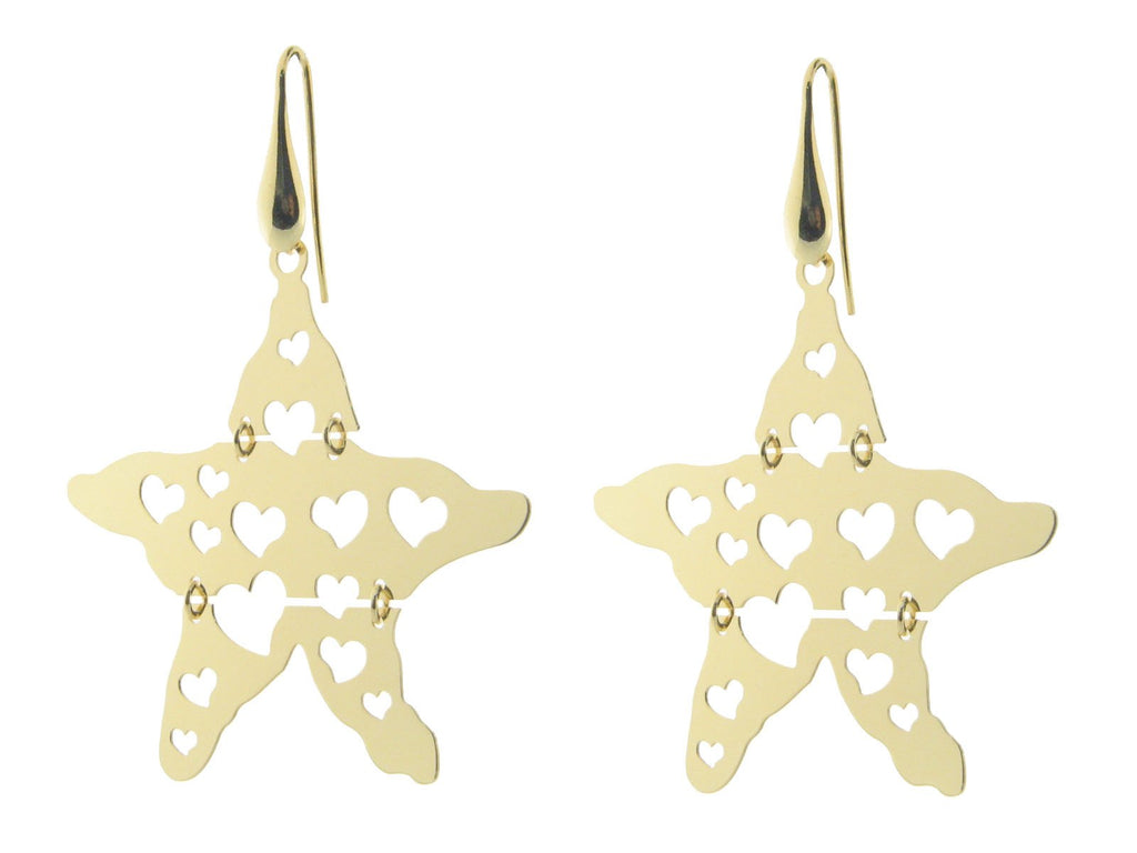 "Sterling Silver Gold Plated 2"" Star Earrings Movable with Cutout Hearts"