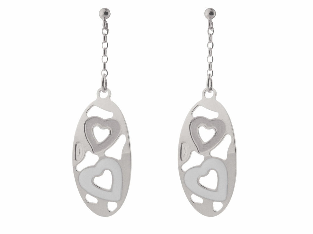 Sterling  Silver Earrings   and White Enamel and Satin Finish  Hearts