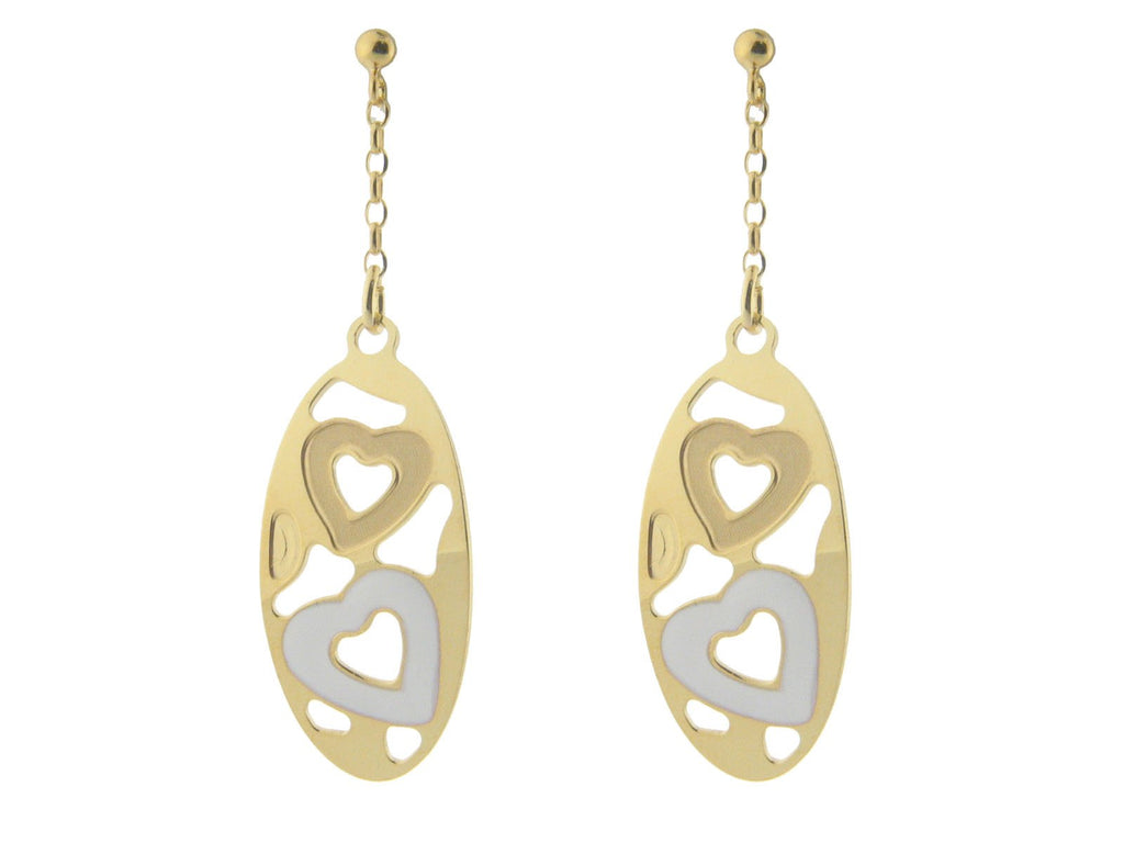 Sterling  Silver Earrings  Vermeil  and White Enamel and Satin Finish  Hearts