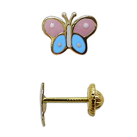 BecKids 18k Gold Colores Butterfly Stud Earrings