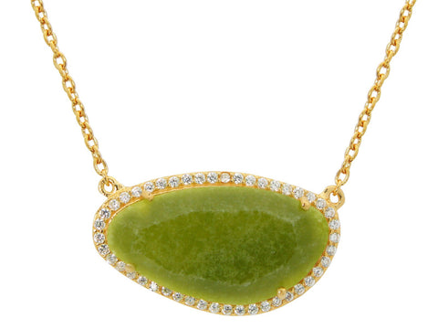 Olive Green Slice Necklace