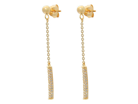 Golden Post & Flash Bar Dangling Earrings