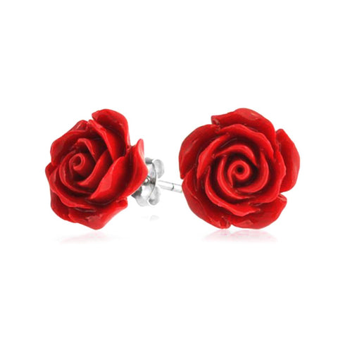 Luscious Red Rose Studs