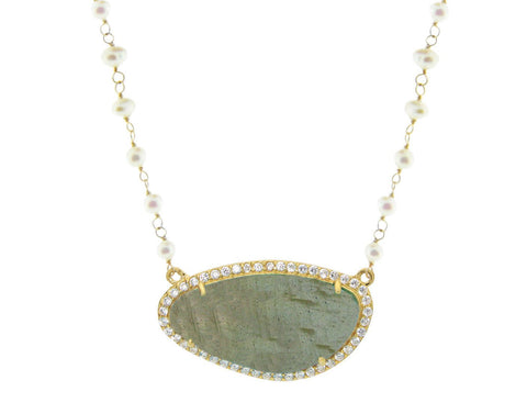 Labradorite Slice & Pearls Necklace