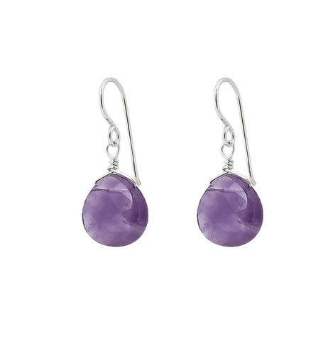 Natural Amethyst Hook Earrings