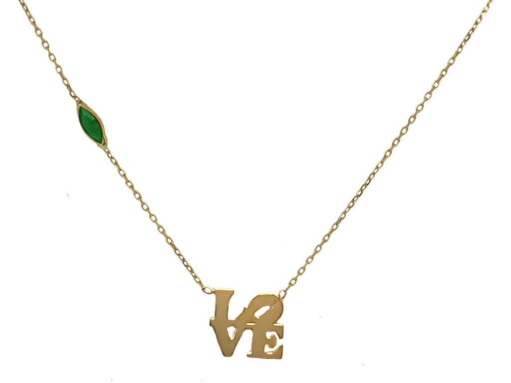 14k Gold Stacked Love Emerald Necklace
