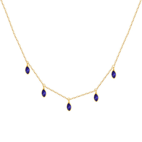 14k Gold Blue Sapphires Necklace
