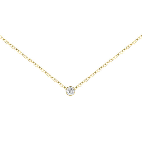 14k Gold Round Bezel Diamond Necklace