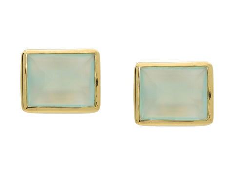 "18k Gold Plated Rectangle Milky Green Agate Stone Studs, .5"" x .38"""