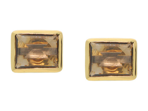 "18k Gold Plated Rectangle Smokey Quartz Stone Studs, .5"" x .38"""