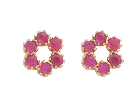 14K Gold Mini Ruby Flower Earrings