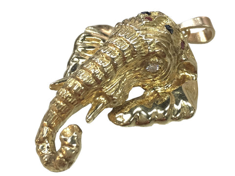 14k Gold Royal Elephant Pendant