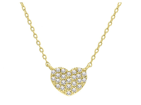 14k Yellow Gold Petite Diamond Heart Necklace