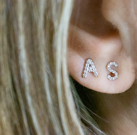 Diamond Stud Initial Earring