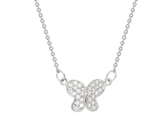 "Silver Rhodium Plated & Cz Butterfly Necklace Pendant 16""+2"""