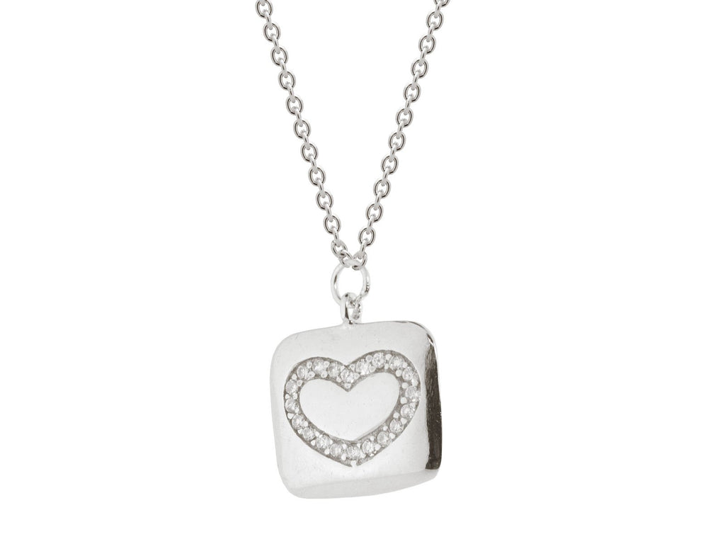 "FRONAY CO, Sterling Silver Inlay Cubic Zirconia Heart Pendant, 15.5"" + 1.5"""