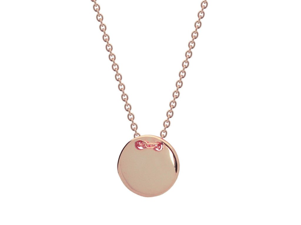 Rose Gold Plated Engravable Initials Disc Necklace