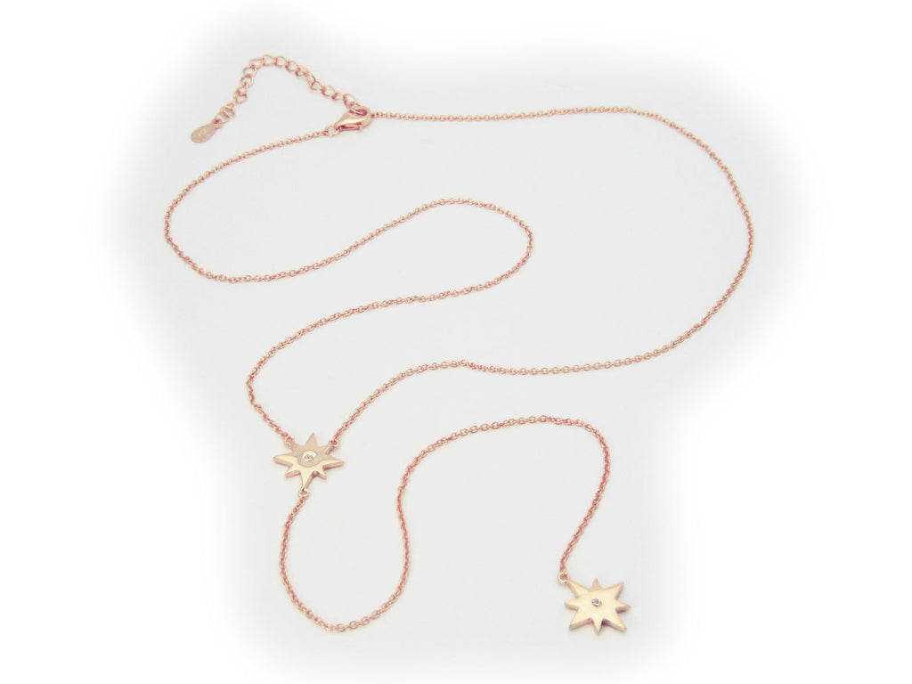 Rose Starburst Lariat Y Necklace