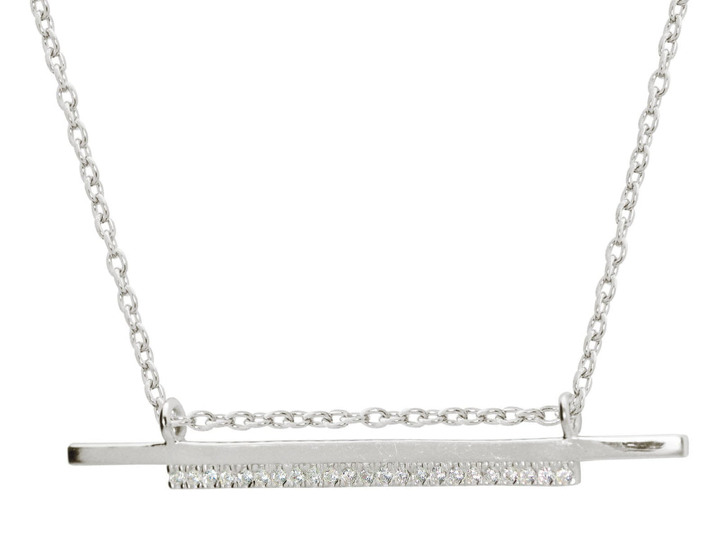 "Double Sideways Cz Flashbar Necklace in Sterling Silver, 15.5"" + 2"" Extender"