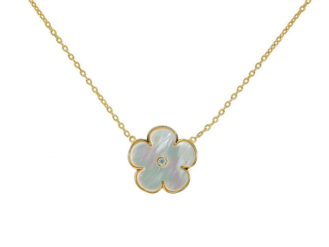 Mother of Pearl Daisy Flower Necklace (Small)