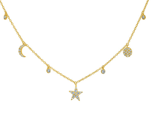 Sparkling Golden CZ Stars & Moons Charms Necklace