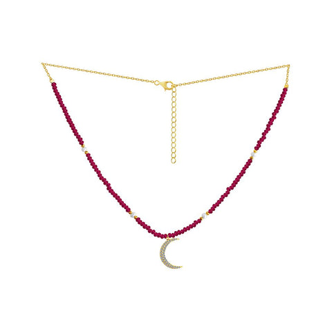 Ruby Crescent Moon Necklace
