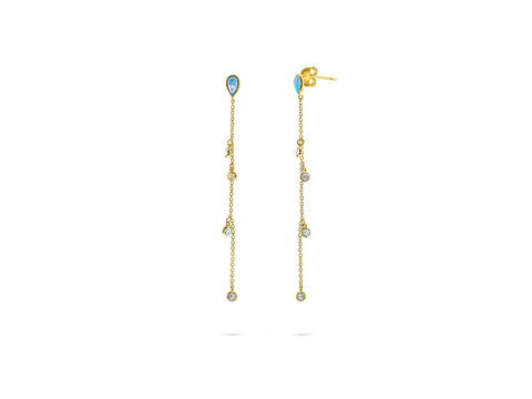 Mini Opal Tear Drop Stud Dangling CZ Earrings