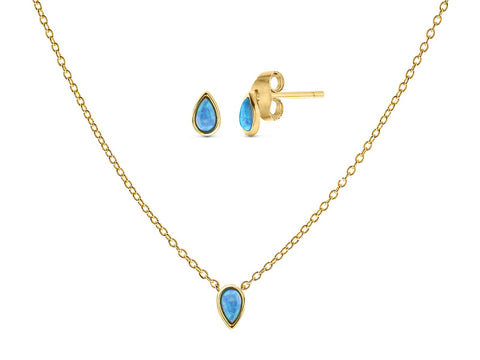 Created Opal Raindrop Studs and Necklace Set