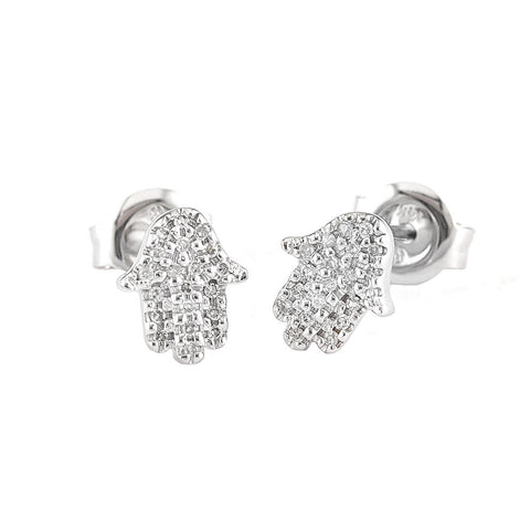 14k White Gold Diamond Hamsa Hand Stud Earrings